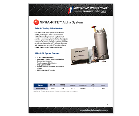 Download Industrial Innovations SPRA-RITE Alpha Systems Catalog. For more information, please call us at 616-249-1525.