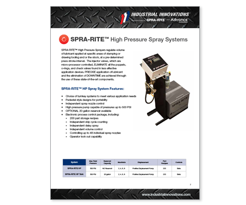 Download Industrial Innovations SPRA-RITE High Pressure Pedestal Catalog. For more information, please call us at 616-249-1525.