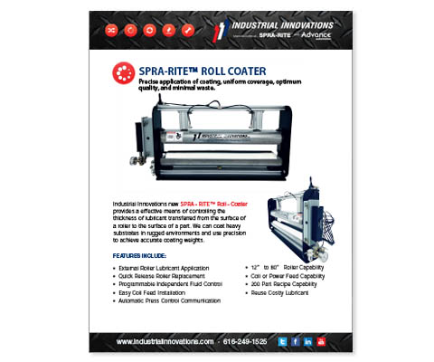 Download Industrial Innovations SPRA-RITE Roll Coater Flyer. For more information, please call us at 616-249-1525.